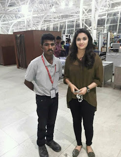 Keerthy Suresh with a Fan