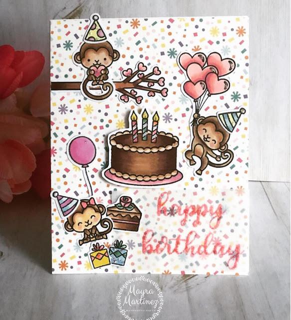 Sunny Studio Stamps: Love Monkey Make A Wish Customer Card Share by Mayra Martinez