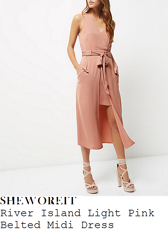 lucy-mecklenburgh-river-island-light-pink-sleeveless-wrap-front-belted-asymmetric-layered-midi-dress
