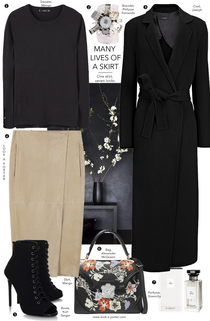 7 ways to style a beautiful sand-coloured suede skirt via www.look-a-porter.com style & fashion blog / outfit inspiration & looks daily