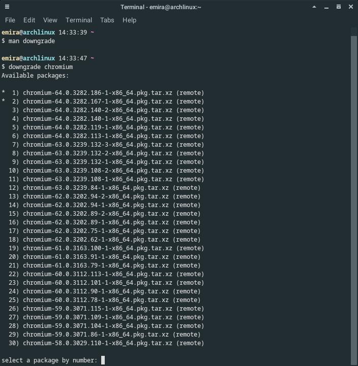 Downgrade paket Arch Linux
