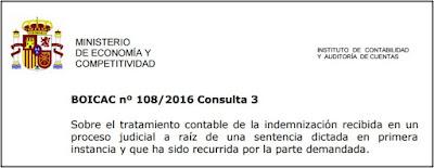 BOICAC 108/DICIEMBRE 2016 Indemnización recibida en un proceso judicial. NRV 15ª