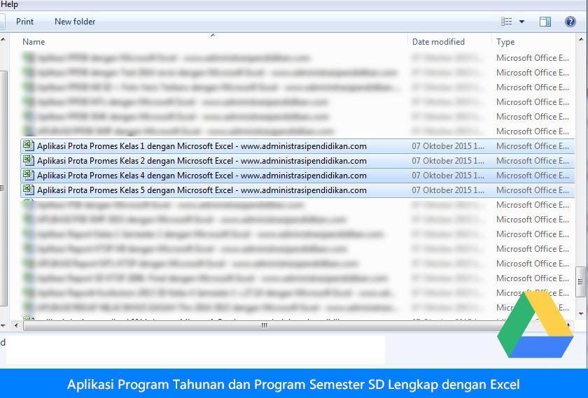 Aplikasi Program Tahunan dan Program Semester SD Lengkap dengan Excel