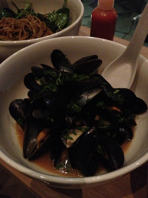 mussels in fermented soy garlic broth
