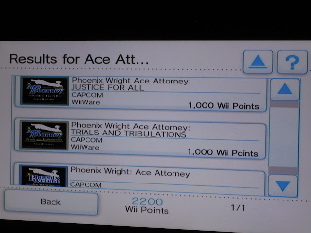 Wii Shop Channel Phoenix Wright Ace Attorney WiiWare game selection