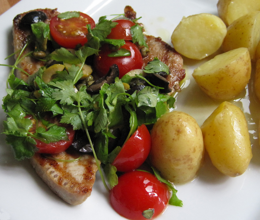 Griddled Tuna Steaks with a Tomato Caper and Olive Dressing