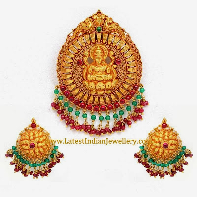 Antique Gold Lakshmi Pendant