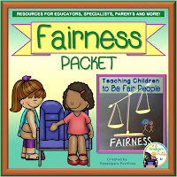 A Fairness Teaching Packet including worksheets, printables, posters, and activities