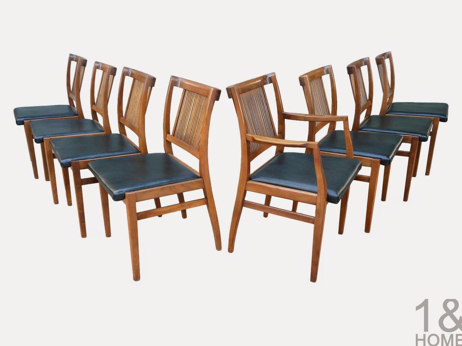 Mid-Century Modern Drexel Dowel Slat Back Dining Chairs Profile John Van Koert