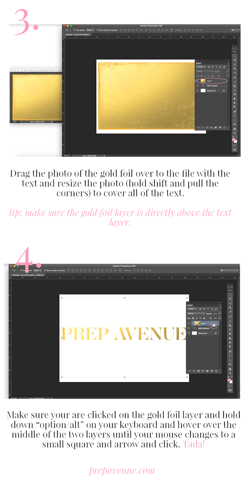 How to Make Gold Foil Letters on Photoshop - Prep Avenue