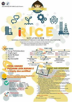 Lomba Karya Tulis Ilmiah Nasional NICE OF RICE 2018 di Universitas Muhammadiyah Malang