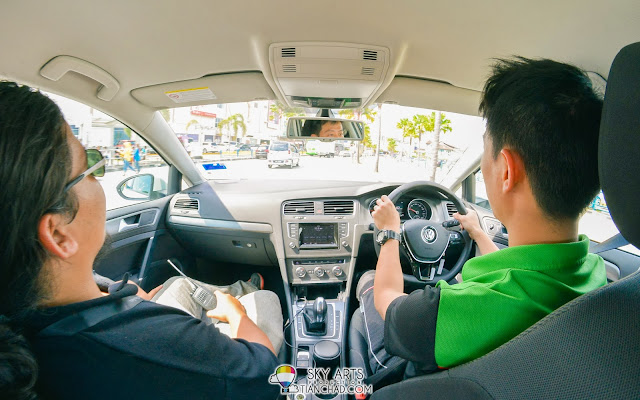 KY drove us around Queensbay Mall and Penang street with Volkswagen Polo Sedan