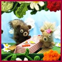 Ardillas de picnic amigurumis
