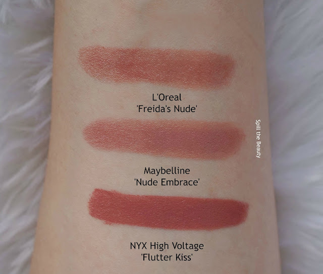 maybelline nude embrace swatches comparison dupe loreal nyx