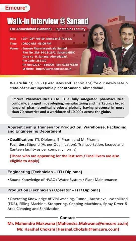 Emcure   Walk-in for Production/Engineering   25 & 26th Feb 2019   Ahmedabad