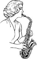 דף צביעה אישה מנגנת על סקסופון
