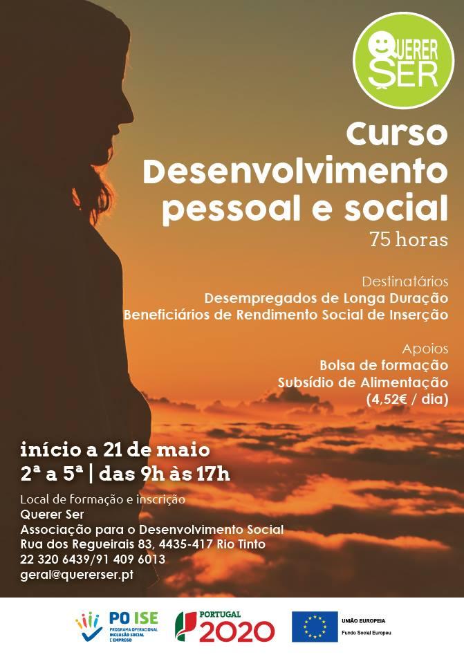 Curso remunerado em Rio Tinto - Desenvolvimento Pessoal e Social