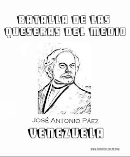 colorear José Antonio Páez  batalla de quesada
