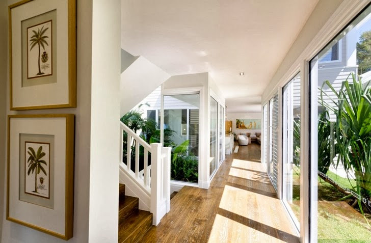 Hallways in Beautiful seaside home by BGD Architects