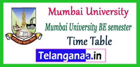 Mumbai University BE Engineering 1st 3rd 5th 7th Semester Exam Time Table 2017-18