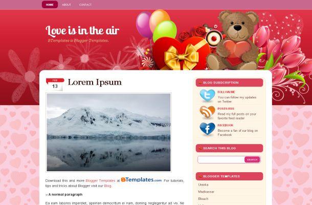 Free Valentine Pink Vector Blogger Theme Template - Free CSS - free cute blogger templates