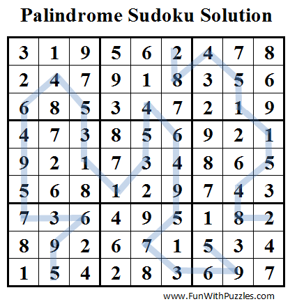 Palindrome Sudoku (Daily Sudoku League #46) Solution