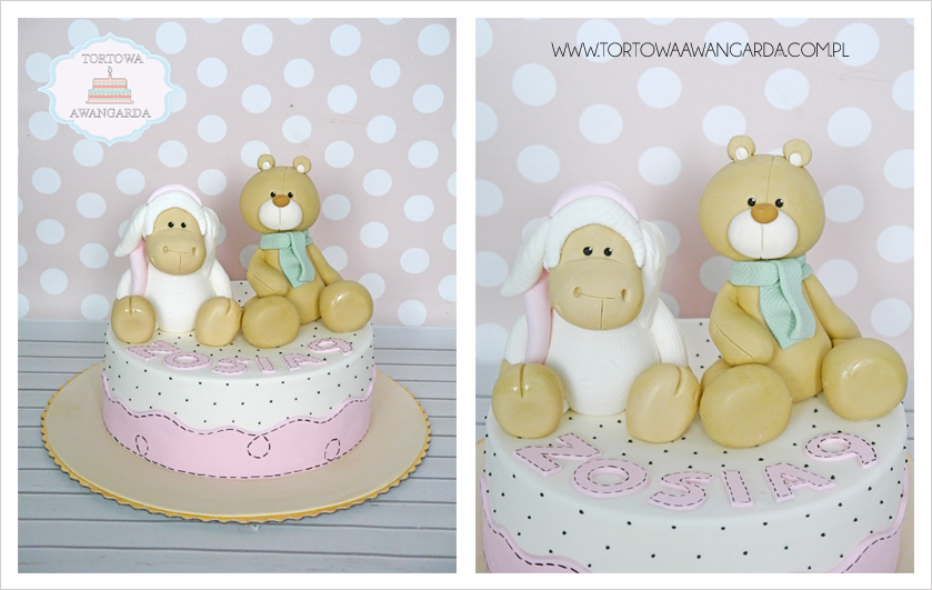 tort artystyczny urodzinowy dla dziewczynki z misiem owieczka NICI Warszawa