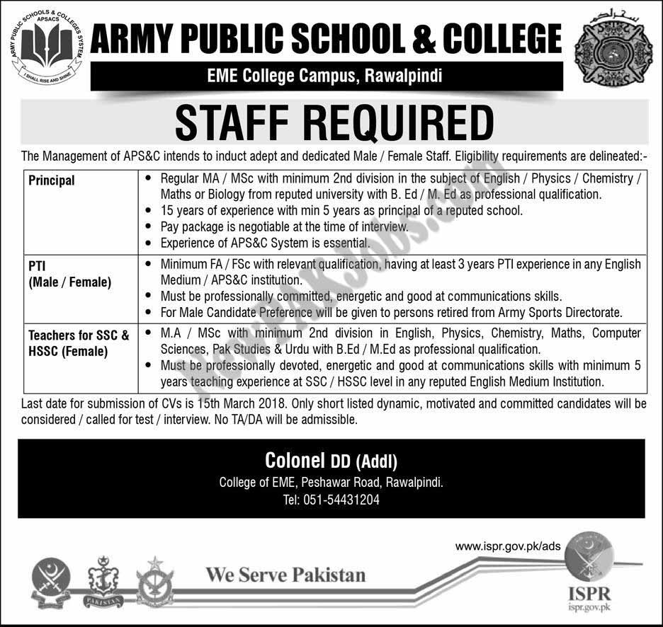 Today Fresh Jobs in Army Public School and College, EME College Campus Rawalpindi 2018