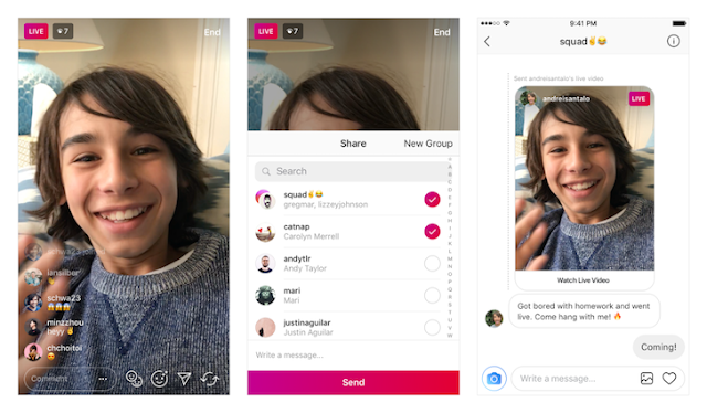 send live videos as direct messages on Instagram