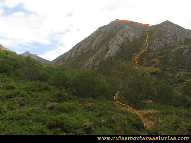 Ruta Ventaniella, Ten y Pileñes: Vista de la subida por la canal de Ten