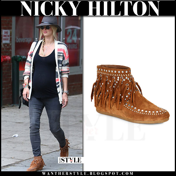 Nicky Hilton in brown suede fringe ash spirit ankle boots baby bump what she wore
