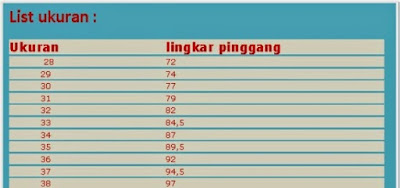 ainul jeans isze chart