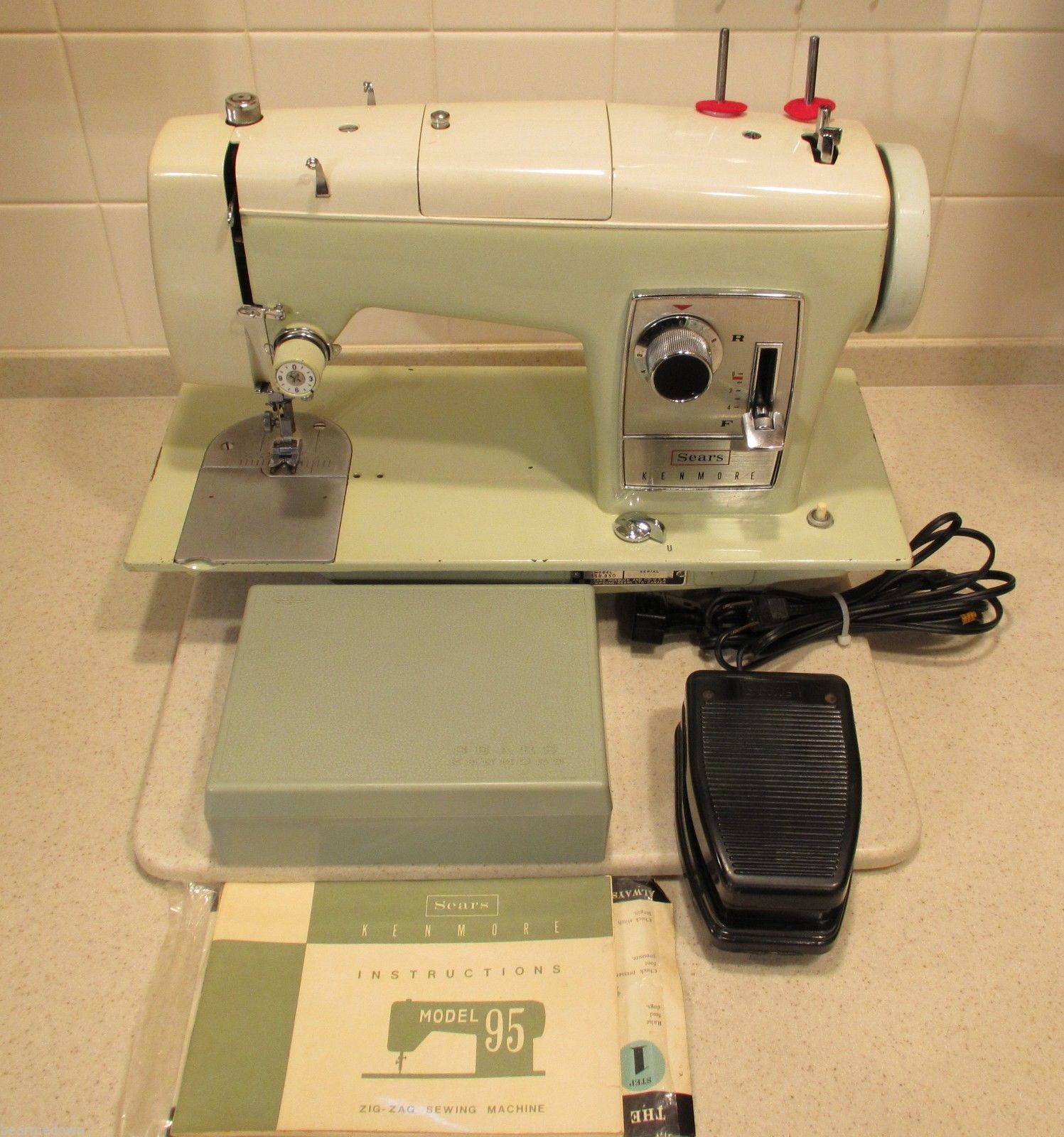 The Sears Kenmore Model 158.950, is officially model 95, according to the  manual. Multiple Sears Kenmore sewing machine models look almost identical  to this ...