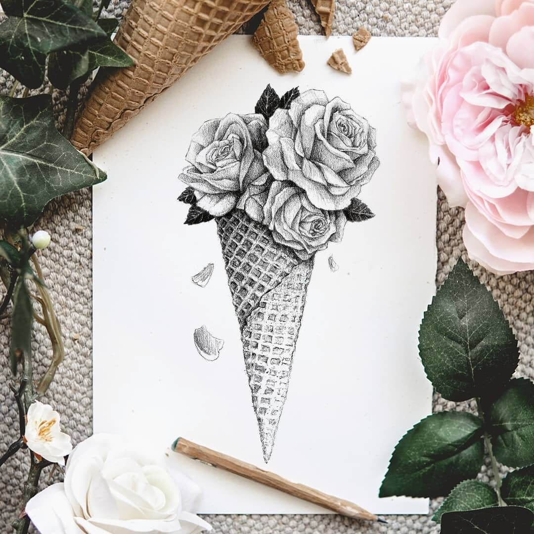 01-A-cone-of-roses-Mike-Koubou-Staging-Ink-and-Pencil-Drawings-www-designstack-co
