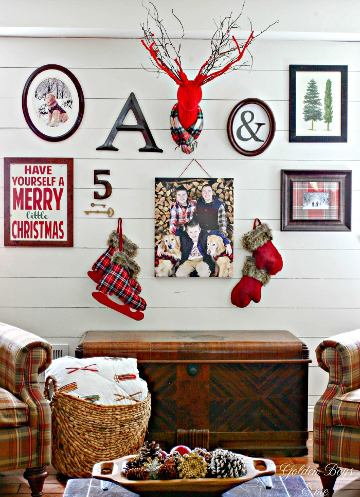 Winter gallery wall with sweater deer head with plaid scarf - www.goldenboysandme.com