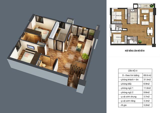 Thiết kế căn hộ 01 dt 69m2 với 02 phòng ngủ