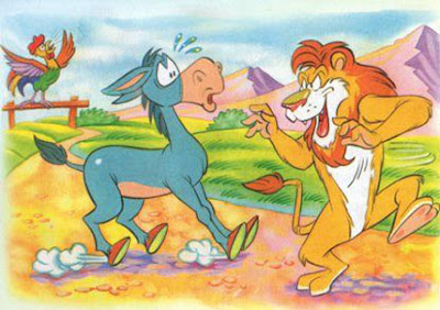 el asno el gallo y el leon fabula