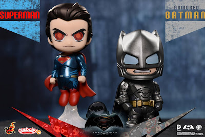 Batman v Superman Dawn of Justice Cosbaby Vinyl Figure Box Set by Hot Toys - Armored Batman & Superman
