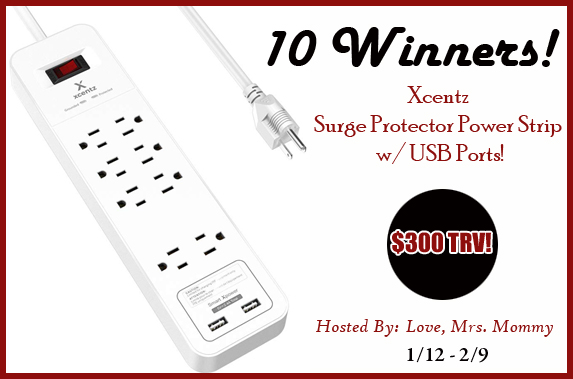 10 Winners! Surge Protector Power Strip & w/ USB Ports Giveaway!
