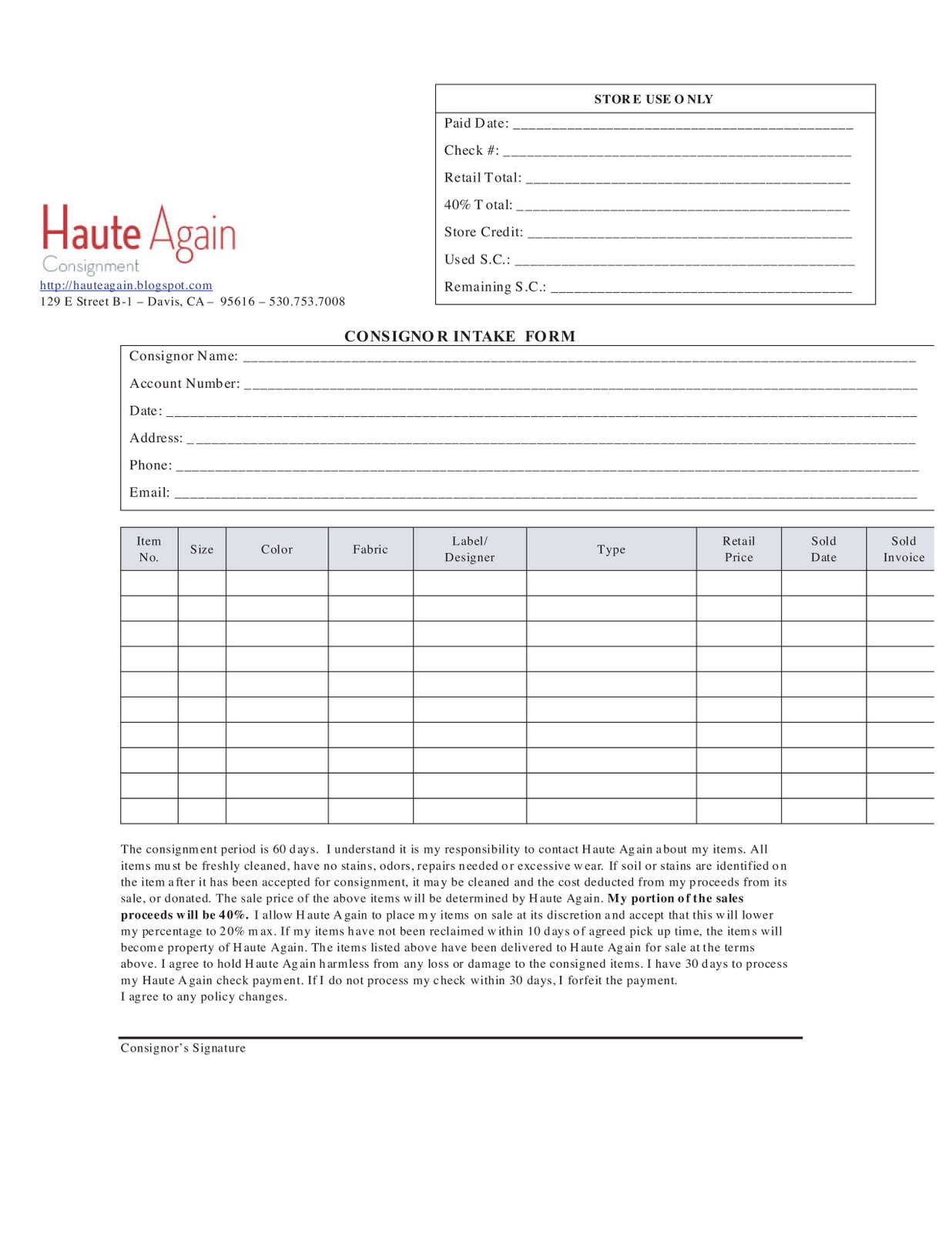 Consignment for Consignment shop contract template