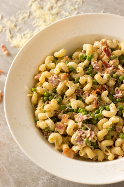 Creamy Parmesan Pasta with Crisp Bacon and Peas: Easy to Make!