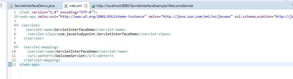 Servlet interface