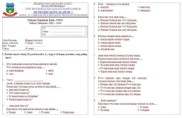 Soal UKK Bahasa Indonesia Kelas 2 Sekolah Dasar (SD)