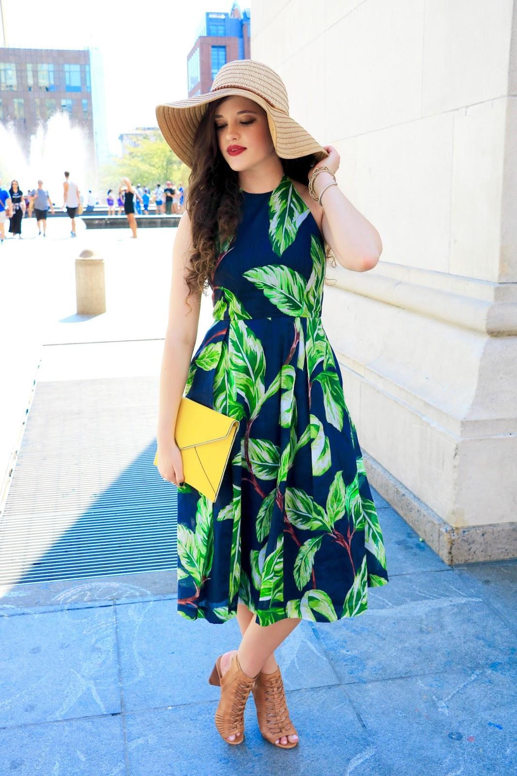leaf print dress