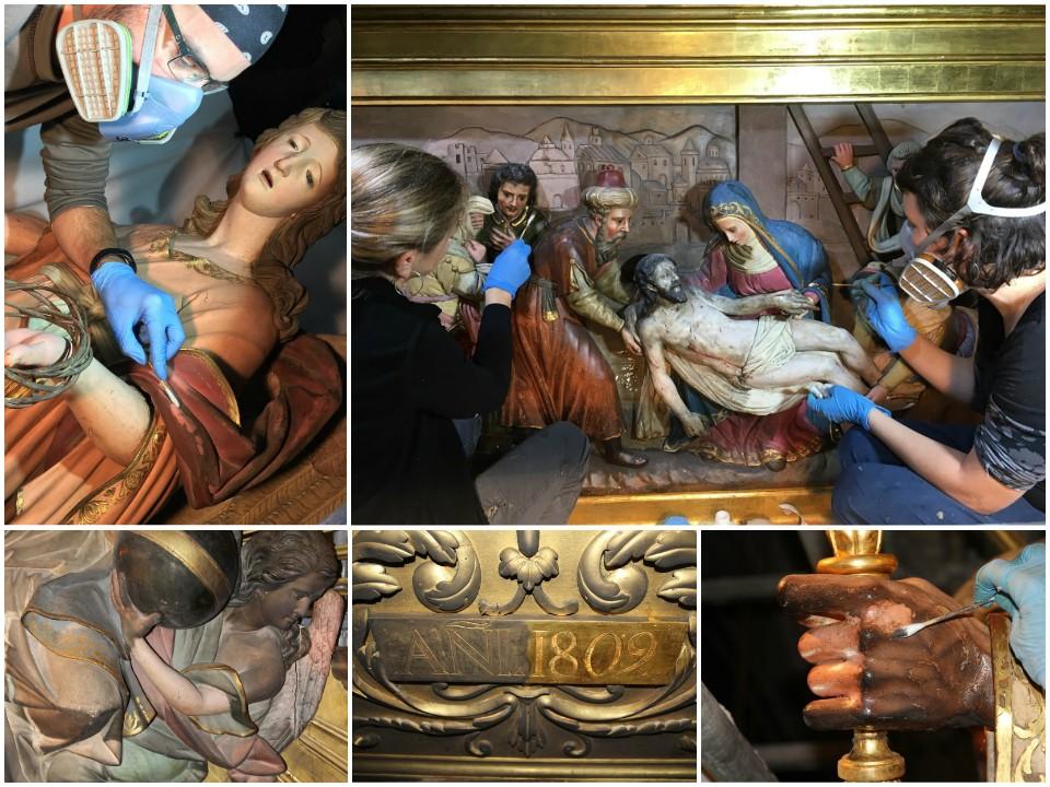 Limpieza de la superficie pictórica del retablo del Santo Cristo