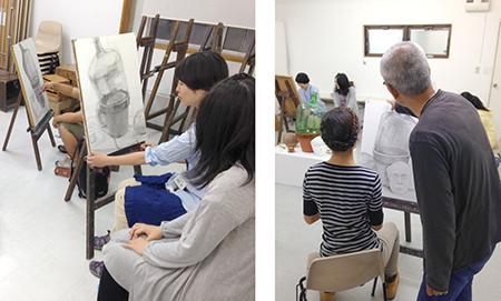 横浜美術学院の中学生教室 美術クラブ 夏休み美術教室  制作風景