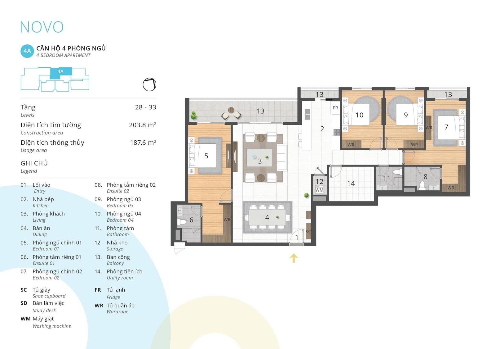Mặt bằng căn hộ 4 phòng ngủ 187 m2 thông thủy tòa NOVO dự án Kosmo