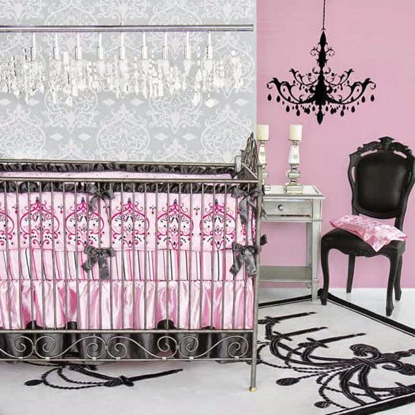 Dormitorio bebé gris y rosa