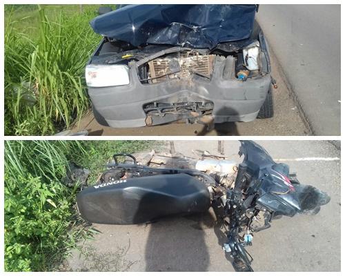 Colisão frontal entre carro e moto deixa três pessoas feridas na BR-222 no Maranhão