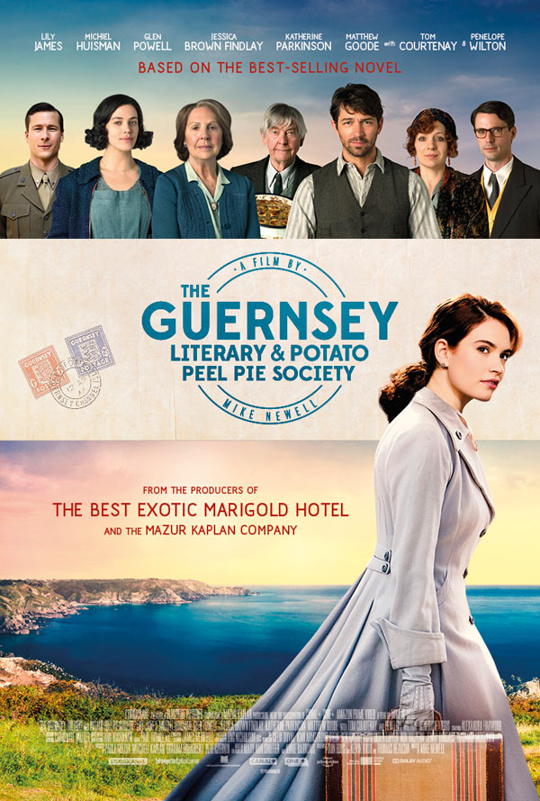 The Guernsey Literary and Potato Peel Pie Society poster for the moviestarring Lily James